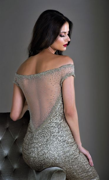 Grey long wedding dresses