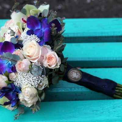 Blue orchid wedding bouquet
