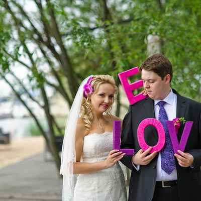 Purple wedding signs