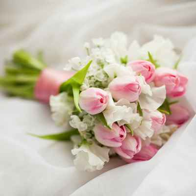 Spring pink tulip wedding bouquet