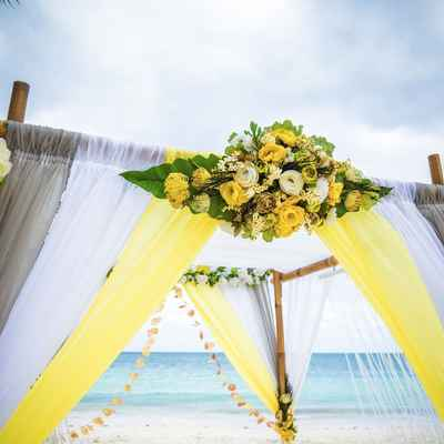 Beach grey wedding ceremony decor