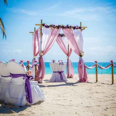 Overseas purple wedding ceremony decor