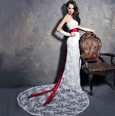 Red corset wedding dresses