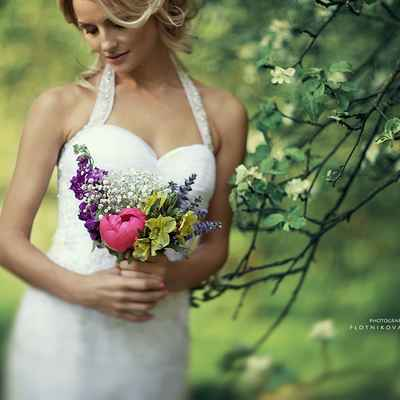 Spring purple peony wedding bouquet
